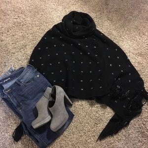 Jackets & Blazers - Black knit poncho